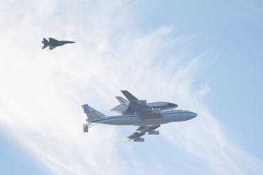 NASA's Endeavour space shuttle was carried around California atop a 747 jet Friday morning, passing by many of California's historic landmarks. It was sighted directly over Redwood's back parking lot at 10:20 a.m.