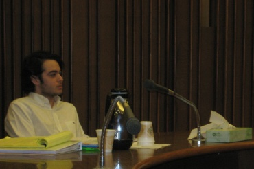Alleged gunman and car thief Max Wade, a former Redwood student, listens to testimony at the second day of his pretrial hearing.