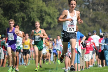 Fred Huxham competes in the Stanford Invitational cross country race. Huxham finished 4th overall in the boys' race.