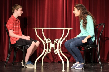 MITCHELL POPE and Alessandra Pagani, freshmen, perform a short play at the Beginning Drama One Acts. The performances took place from Nov. 28 through Dec. 8 in the Little Theater.