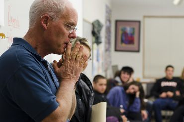 """Team teacher Chuck Ford thinks during a """"Save Team"""" meeting Monday night at Tamiscal. Ford has been with the Team program since 1992 and is retiring after this year."""