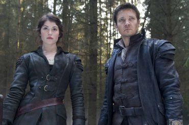 THE WITCH-HUNTING siblings Hansel (played by Jeremy Renner) and Gretel (played by Gemma Arterton) prepare for a witch murder, as they have been doing since their experience in the Gingerbread house as children.