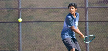 Nic Barretto swings his racquet at a game last Tuesday.