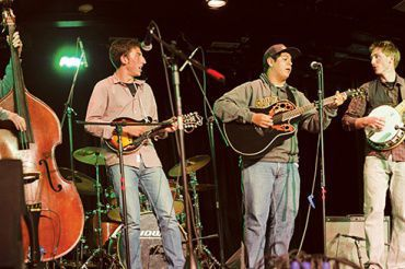 CHARLIE WEATHERFORD, Gideon Elson, Diego Marino, and Ian Stowe jam in the Little Theater, May 28.