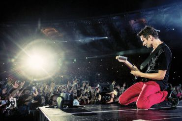 MUSICIAN MATT BELLAMY performs at the Stadio Olimpico, Rome, in July 2013.