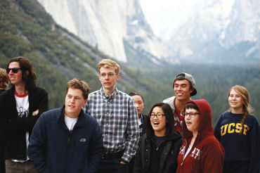 BAND STUDENTS Ian Lewitz, Andy Haden, Jane Bhan, Carol Lee, Kenneth Berreman, and Rayna Saron enjoy the view in Yosemite while posing for a picture.