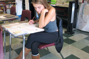 Junior Ulrikke Rovsing of Denmark takes a U.S. history test in her ELD class