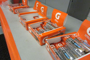 "Gatorade provided workout snacks, such as energy bars, to winter athletes this past week as a part of the ""G"" Series Week."