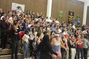 RHS students show their sprit and support for the varsity boys during the game.
