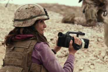 Baker gets her first combat footage. (Photo courtesy of Paramount Pictures) (1)