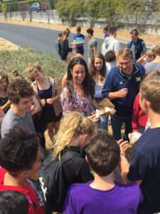 Directing an egg drop for their first project, teachers Cathy Flores-Marsh and Stephen Hart combine freshman classes to foster cross-disciplinary learning.