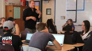 Hart teaches half of the students World Cultures and Geography/Social Issues during fifth period.