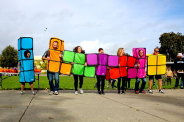 The Physical Education department puts on a Tetris-themed dance