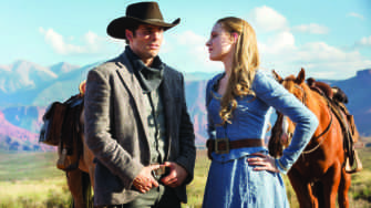 RIDING THROUGH THE park, hosts Teddy Flood (James Marsden) and Dolores Abernathy (Evan Rachel Wood) stop to question the nature of their journey.