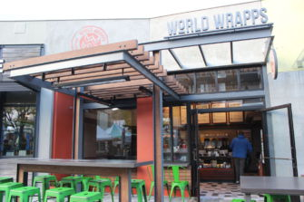 World Wrapps new design allows seating inside and provides a heat lamp outside.