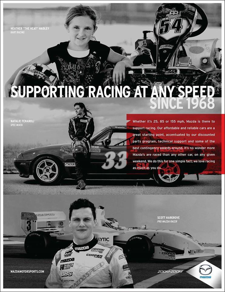 Heather poses in front of her kart in a magazine Mazda ad