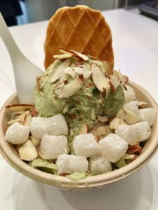Topped with shaved almonds, mochi and a wafer, the matcha green tea shaved snow is a delicious treat despite lacking strong flavor.