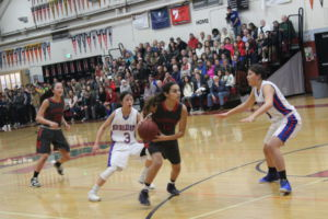 Sophomore Gabby Beltran looks to drive to the basket.
