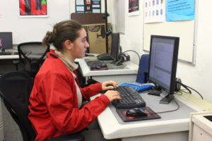 Sophomore Rivca Chaver works on her connect four game for her AP Computer Science class.