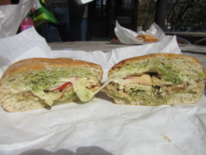The combination of pesto and aioli sauce gives the pesto chicken panini a unique, Mediterranean taste.