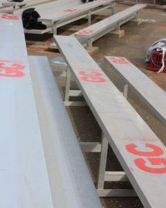 """Casassas initials, """"GC"""" were spray painted across the bleachers."""