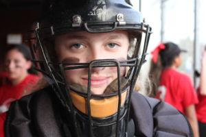 Sophomore Katie Rose caught after Mandy Weitenhagen was taken to the hospital with a broken cheekbone.