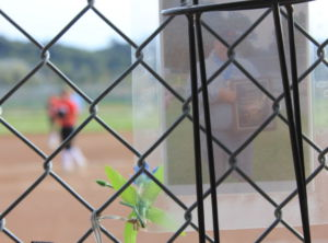 A picture of Casassa hangs just outside the Redwood dugout.