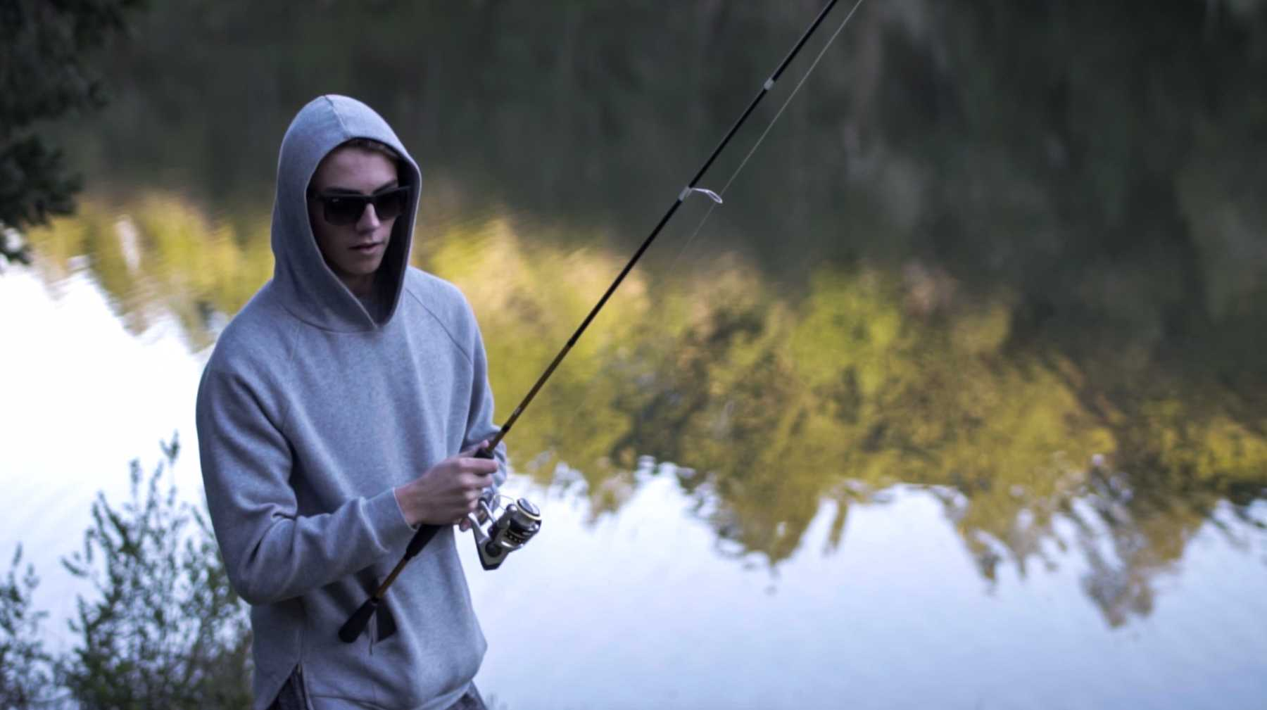 Senior Matt Walravens prepares to cast out at Bon Tempe Lake