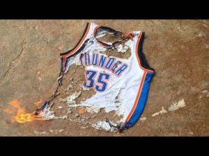 Fans reacted in many ways to the signing of Durant, including burning his old jersey.