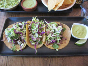 Filled with steak, lettuce and cilantro, the tacos de carne asada offer a fresh taste and delicious flavor, although they are price for teenagers at a cost of $15 for three tacos.
