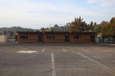 Behind the gym are the new portable classrooms, built in an effort to accommodate Redwood's growing population.