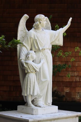 Standing on the campus of San Domenico school, this religious statue is one of the 18 remaining statues in the school.