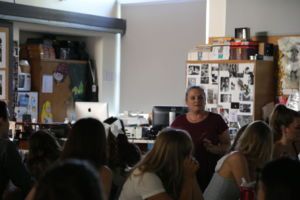 SUSANNA MAXWELL INSTRUCTING her AP Art History students