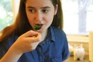 Fogarty taste tests her homemade pesto sauce.
