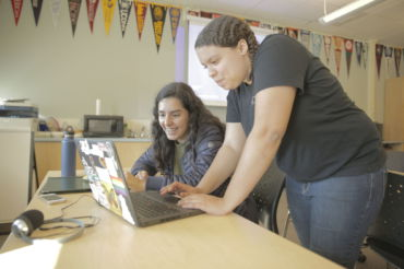 Junior Eloisa Costa (left) discussing matters with advisor Kyla Burke (right) in the College and Career Center.