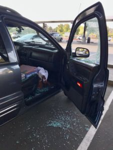 Part of the group of robberies in the parking lot, the front window of Erin McCarthy's car was smashed and her laptop was stolen on Sep. 6.