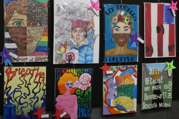 Tamiscal student Rachel Shindelus (poster top left) and former Redwood student Haley Bjursten (poster top mid-left) used the Summer of Love poster contest as an opportunity to voice their opinions on world problems through art.