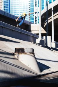 Gorham dangerously completes a trick in San Francisco