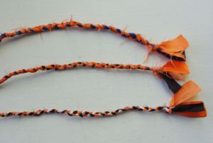 The leftover life jacket material is braided into these bracelets.