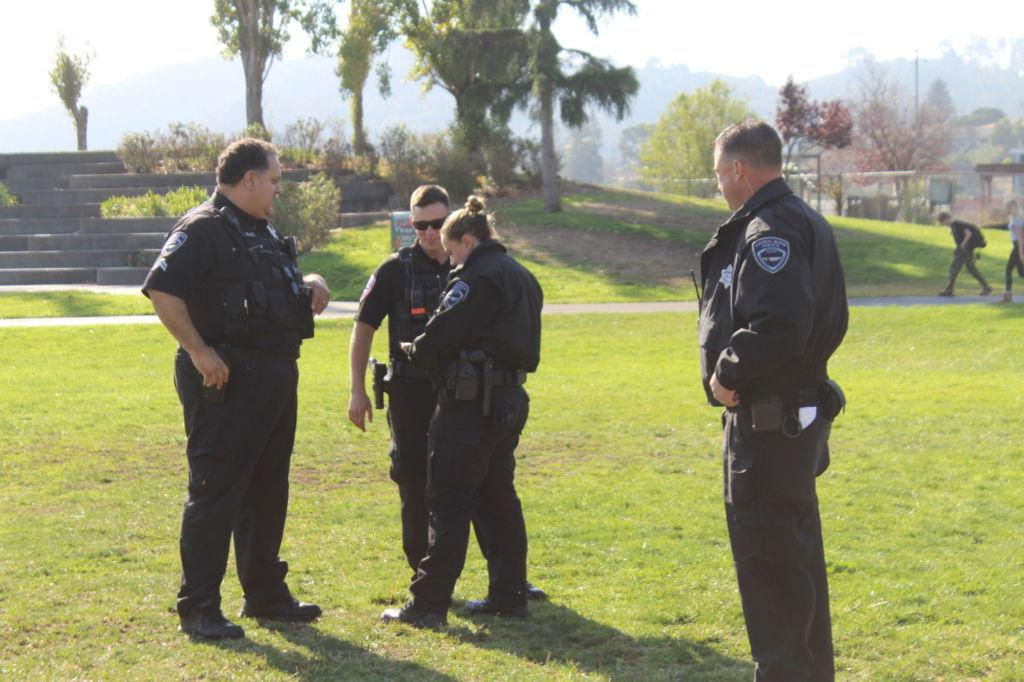 Discussing todayu0027s plan four Central Marin police officers gather on the South Lawn. & Second school shooting threat results in prohibition of Halloween ...