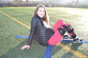 McGonigle stays positive although she can't play soccer for another 9 months.