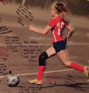 McGonigle's teammates made her a poster to support her during these difficult months.