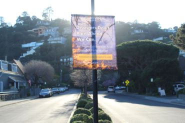 Posters around Belvedere notifying residents of new disaster planning
