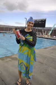 Peisch smiling after participating in a water polo practice.