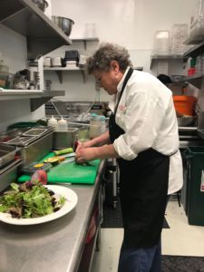 Head chef Janet Abrahamson preparing ingredients for the Sweet Heart salad.