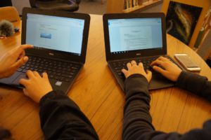 Students using Chromebooks as an alternative to going to the computer lab.