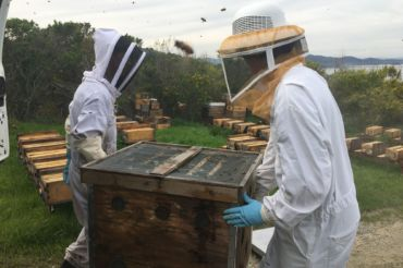 Morgan Glasser and Roy Crumrine transport one of their hives.
