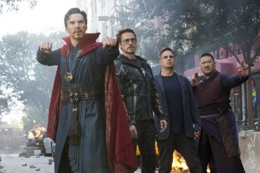 Doctor Strange (Benedict Cumberbatch), Iron Man (Robert Downey Jr.), Bruce Banner/Hulk (Mark Ruffalo), and Wong (Benedict Wong) about to defend Earth from first attack