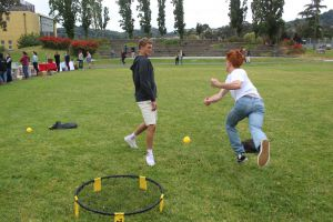 Juniors Harri Hetrick and Freddie Kehoe enjoy an intense game of spike ball on the South Lawn.