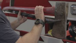 Two of the tools found on the ambulance used for entering buildings or for wildland firefighting.
